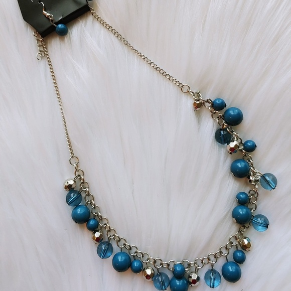 Paparazzi Blue Bead Necklace Earring Set